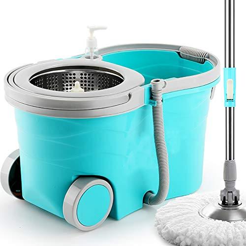Fpigshs mop rotante mop pavimenti secchio mop con strizzatore lavapavimenti professionale sistema di pulizia completo spin 360° secchio strizzante ruotante in metallo mop (colore : lake blue)