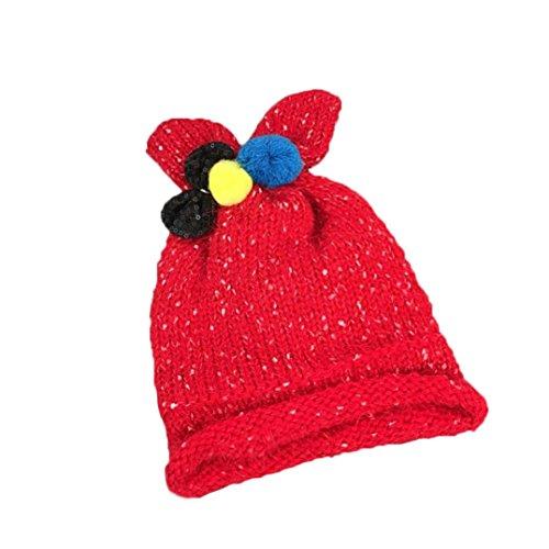 URSING Süß wie ein Baby Strickmütze Kinder Mädchen Jungen Karikatur Bowknot Mütze Kappe Klassisch Winter Warm Hut Strick Mütze zum Fotoshooting mit vielen Farben/48CM (Rot) (Minion Kostüm 2 Jahre Alt)