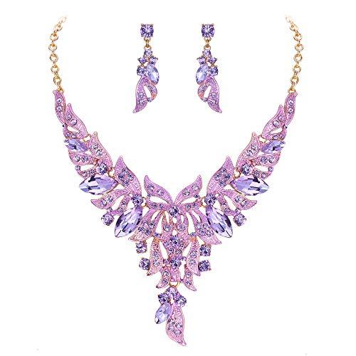 Ever Faith Damen Schmuckset Kristall Hochzeit Charm Floral Blatt Y-förmige Halskette Ohrringe Set Lila Gold-Ton
