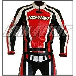 4LIMIT Sports 200100000309 Traje para Moto de Cuero, Rojo / Negro / Blanco, 4XL