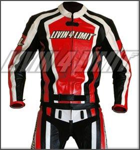 *4LIMIT Sports Motorrad Lederkombi LAGUNA SECA Zweiteiler, Rot-Schwarz-Weiß, Größe L*