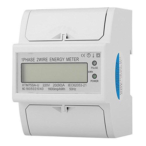 KWh Zähler, 220V Digital 1 Phase 2 Draht DIN Schiene Stromzähler Elektronisches KWh Meter für Messung von Nennfrequenz Einphasigen AC Aktiven Strom(20(80) A) -