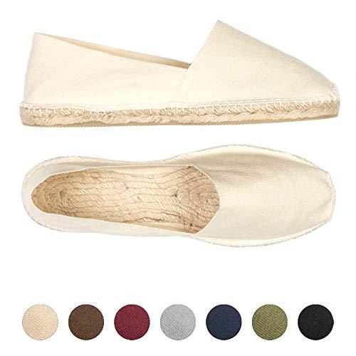 weltenmann Herren Slip-on Espadrilles aus Baumwolle mit Schuhbeutel, Sand, 44 | Handmade in Spain