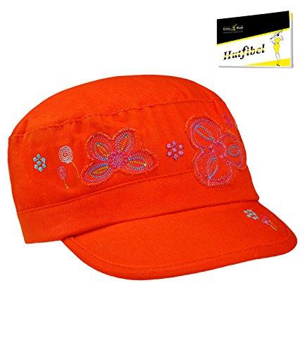 Fiebig GI Cap Urbancap Tellercap Armycap Cubacap Kappe Basecap Mädchencap Sommercap uni mit Glitzersteinen für Kinder (FI-85338-S16-BM2-43-51) in Orange, Größe 51 inkl. EveryHead-Hutfibel