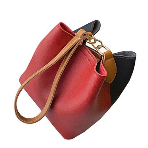 SMILEQ , Damen Schultertasche mehrfarbig schwarz Rot