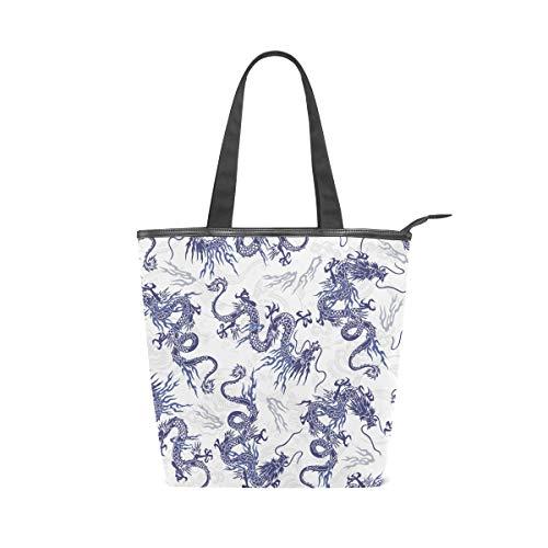 LORVIES Bolsa de lona con diseño de dragón japonés, con cremallera, bolso de hombro, bolso de mano, bolso para la compra, la escuela, al aire libre, picnic