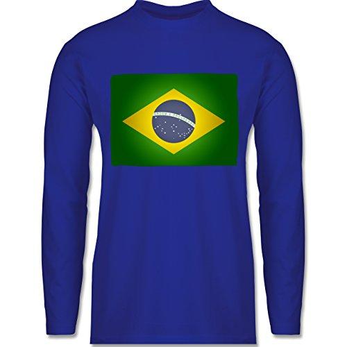 Shirtracer Länder - Flagge Brasilien - Herren Langarmshirt Royalblau