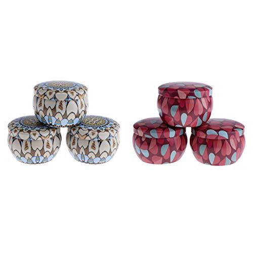 ne Runde Metall Behälter Blechdosen Töpfe mit Deckel für Kerzen, Gewürze, Lippenbalsam, Tabak und Mehr ()