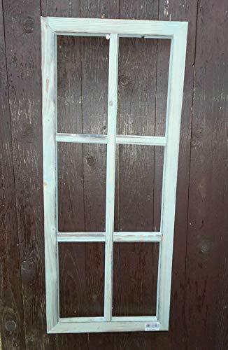 Deko-Impression Fenster Sprossenfenster Bilderrahmen Dekorahmen Holz türkis 76 x 32 cm