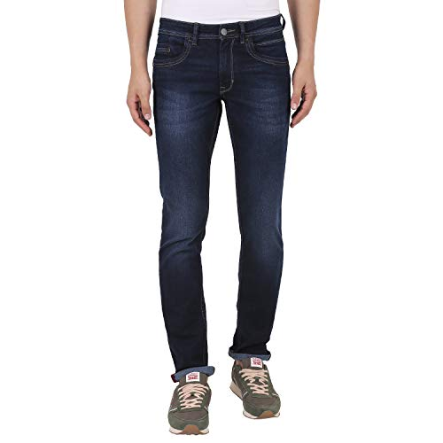 TURMS Men's Denim Slim-Fit Jeans (Dark Blue, 38)