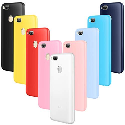 AROYI 9X Funda Xiaomi Mi A1 Carcasa, Ultra Fina Resistente Anti-Scratch Silicona TPU Bumper Case para Xiao Mi A1/5X Negro,Rojo,Azul Oscuro,Rosa,Traslucido