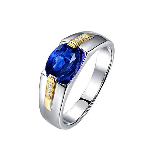 AnazoZ Echtschmuck Damen Ring 18K Weißgold Solitärring 1.4 Karat Saphir Siegelring Bicolor Hochzeit Ring Verlobungsring für Frauen Ring Damen Gold 750 - Eheringe Mens Palladium
