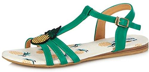Lulu Hun Damen Schuhe Lottie Pineapple Riemchen Sandalen Grün Sandalen 36