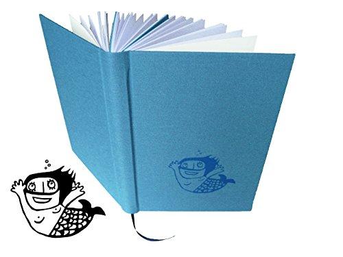 Nixe, Notizbuch, A5, handgebunden und handbedruckt, Siebdruck -