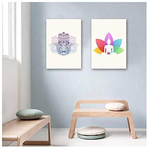 XIXISA Buddha Wandkunst Moderne Yoga Leinwand Gemälde Poster und Drucke Indische Kunst Bilder auf Leinwand für Wohnzimmer Wohnkultur 50 * 70 cm Kein Rahmen