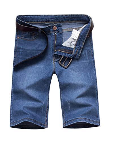 Minetom Herren Denim Bermuda Jeans Shorts Sommer Kurze Hose Basic Jeanshose Destroyed Used-Look Stretch Jogger Cargo Freizeithose C Blau 04 W31/Taille 79CM -