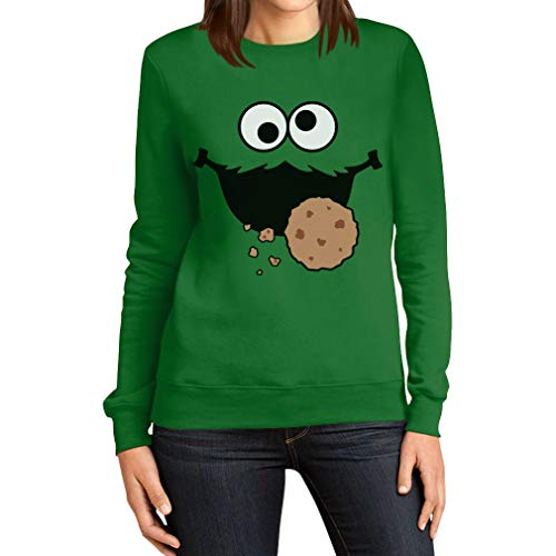 Kostüm Bert Und Frauen Ernie - Karneval & Fasching Damenpulli Keksmonster Krümel Kostüm Frauen Sweatshirt XX-Large Grün