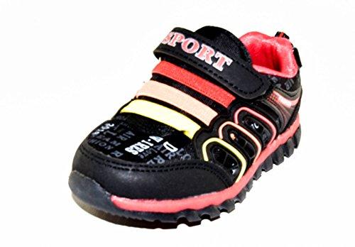 TMY 2451 stylische Jungen Sneaker in Schwarz/ Rot, Gr.: 21-31 Schwarz/ Rot