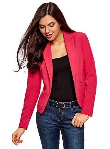 oodji Ultra Damen Taillierter Blazer Basic, Rosa, DE 40 / EU 42 / L