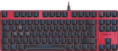 Speedlink Mechanische Gamer Tastatur für PC / Computer - Ultor Gaming Keyboard USB (zuschaltbare Tastenbeleuchtung - konfigurierbare Tasten - 5 Profile, 6 Makro-Tasten, Anti-Ghosting, Rollover-Technik)