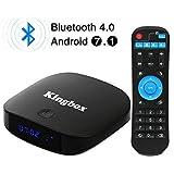 Kingbox K2 Android 7.1 TV Box 2GB RAM + 16GB ROM mit Mini Wireless Tastatur Bluetooth 4.0 Quad Core/100 LAN/Wifi 2.4Ghz/H.265 SPDIF Unterstützt 3D/ 4K Full HD Smart TV Box [2018 Neueste Version]