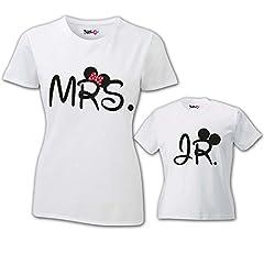 Idea Regalo - Coppia di T-Shirt Magliette Mamma E Figlio/Figlia Idea Regalo Festa della Mamma Mrs And Jr T-Shirt Bianche Mamma e Maschietto Donna S - Bimbo 1-2 Anni