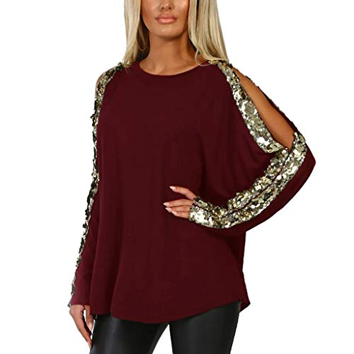 JUTOO 2019 Womens Casual O-Neck Sequins Long Sleeve Hollow out Ladies Tops  T- 32b1c0ccd26