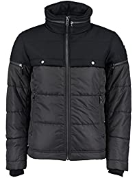DIESEL - Jackets - Men - Black W-Archers Dual-Fabric Zip Collar Quilted Hooded Jacket for men