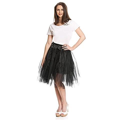Kostümplanet® Petticoat - schwarzer, knielanger midi Unter-Rock Deluxe für Damen mit elegantem 3-lagigen Tüll Tutu und Gummiband zum Verschließen in der Größe