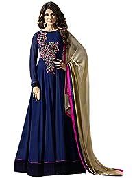 Mrs Faux Georgette Semi Stitched Dress Material ( Pink, Black, Sky Blue, Georgette)