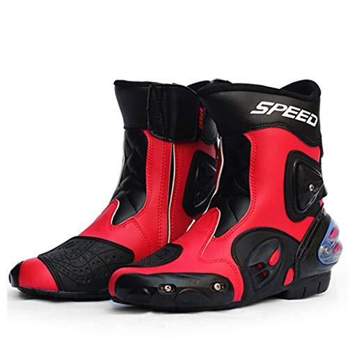ABCWSTY Stivali da Moto con la Chiusura Lampo per Gli Uomini, per la Sicurezza della Motocicletta Stivaletti Traspirante Corsa Stivali stradali Stivali protettivi Soft Rider Boots,Red-41