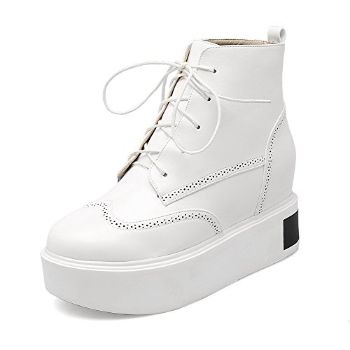 AllhqFashion Damen Rund Zehe Rein Blend-Materialien Stiefel Weiß-Inner Hohe Absatz