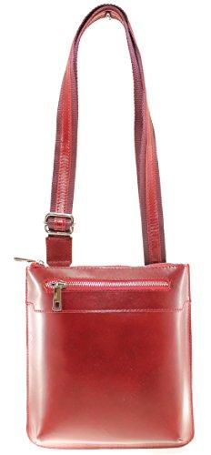 CTM Beutel der eleganten Frauen mit Schulterriemen, 22x24x4cm, echtes Leder 100% Made in Italy Rote