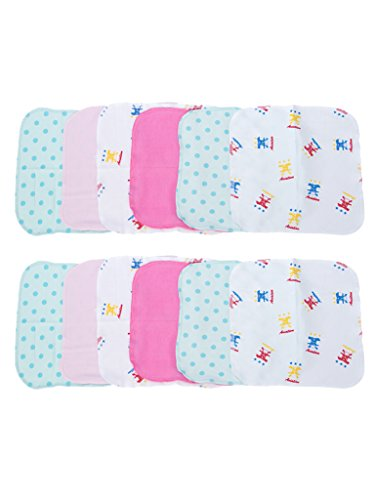 Mee Mee Baby Napkins (Assorted) (Mini - Blue_Pink Assorted - Set of 12)