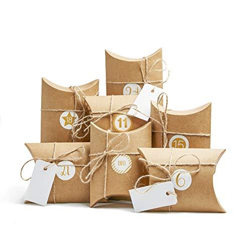 Casparo Eco Design 24 Adventskalender Boxen | Geschenkboxen aus Hochwertiger Pappe inkl. 3 x 24 Sticker | DIY Adventskalender zum Befüllen und selber Machen | Adventstüten für Kinder und Erwachsene