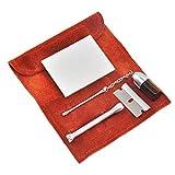sdfghzsedfgsdfg Pour max420 Kit en daim de petite taille Kit de tabac à priser Sniffer Distributeur de poudre à tube Snorter avec pochette en daim Exquisite Exécution rouge