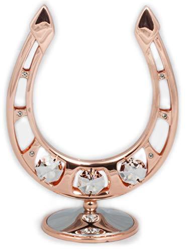 Rieser Interieur Hufeisen chrome & Rosegold überzogen Figur/Statur Kristall Glas MADE WITH SWAROVSKI ELEMENTS (ohne Pferdekopf) -
