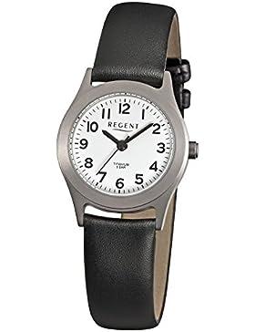 Regent Damen-Armbanduhr Elegant Analog Leder-Armband schwarz Quarz-Uhr Ziffernblatt weiß URF871