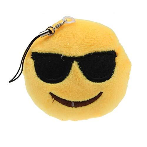 SMILEQ Emoji Emoticon Herz Augen Schlüsselanhänger Weiches Spielzeug Geschenk Anhänger Tasche Zubehör (D)