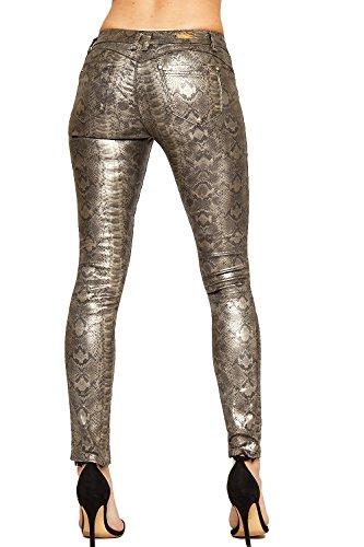 WEARALL - Femmes Serpent Imprimer Humide Regardez Faux Cuir Poche Dames Maigre Jambe Étendue Jeans - 34-44 Gris Argenté