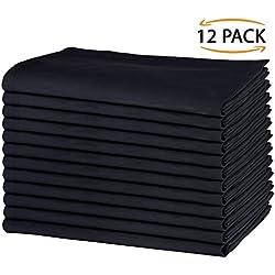 SweetNeedle - Paquete de 12 - Servilletas grandes de algodón 100% algodón 50 CM x 50 CM (20 IN x 20 IN), Negro - Tejido pesado para uso diario con acabado de esquinas acanaladas