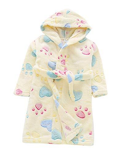 Toalla para Niños con Capucha Super Suave Cómoda Terry Albornoz Bata Pijama Ropa Housecoat MZ Amarillo 140