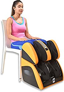 JSB Leg Foot Massager Machine for Calf Pain Relief and Knee Heating (HF111, Yellow)