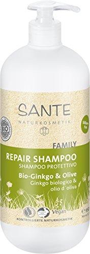 SANTE Naturkosmetik Kur Shampoo Bio-Ginkgo und Olive, 950ml Familiengröße mit Pumpspender, Belebt müdes & strapaziertes Haar, Vegan