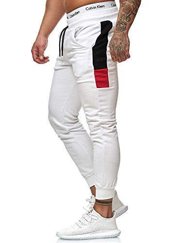 OneRedox Herren Jogging Hose Jogger Streetwear Sporthose Modell 1268 Weiss XL