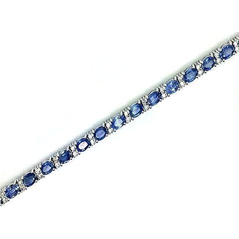Clearance 18.00Carati Ceylon Zaffiro e Diamante Bracciale in oro bianco - Ceylon Sapphire