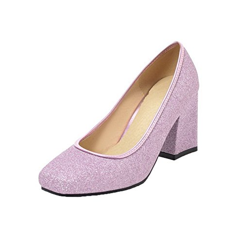 AgooLar Damen Rein Kitten-Heels Schließen Zehe Ziehen auf Pumps Schuhe, Lila, 32 (Halloween Stores Columbus)