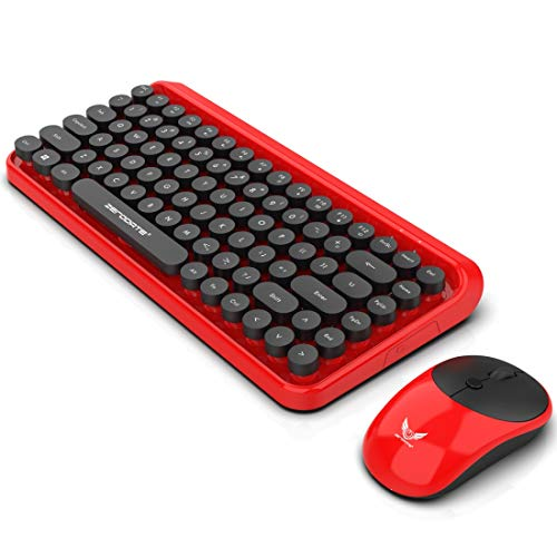 K400 Plus 2.4GHz Wireless Touch Control Keyboard LD-WKM800 84 Tasten Tastatur + 4 Tasten Maus 2.4G Wireless Multimedia Kit for E-Sports Mechanical Game Keyboard (Farbe : Red)