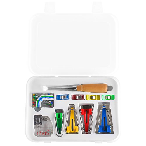 MVPOWER Set de Bias Tape Maker Set de Costura Bias Tape Maker de 6-12-18-25mm con Punzón, Clip de Tela, Pin, Pie Prensatelas Ajustable Color Rojo Azul Verde Amarillo