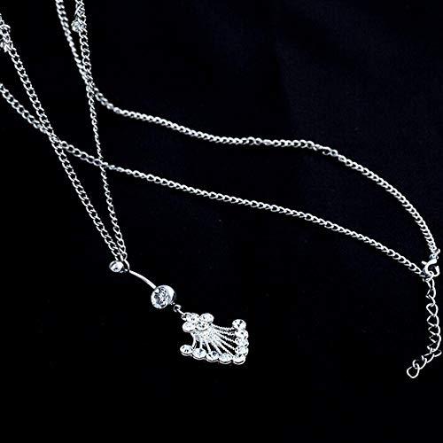 WFQGZ Halskette Zarte Strass Crystal Bar Taille Kette Edelstahl Anhänger perforiert Bauchnabelpiercing und Taille Kette 3Colors-weiß